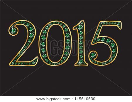 2015 Emerald Jeweled Font With Gold Channels