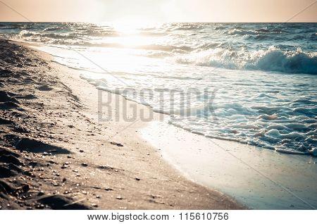 Beautiful Reflection Of  Sun In Wet Sand On  Sea Beach