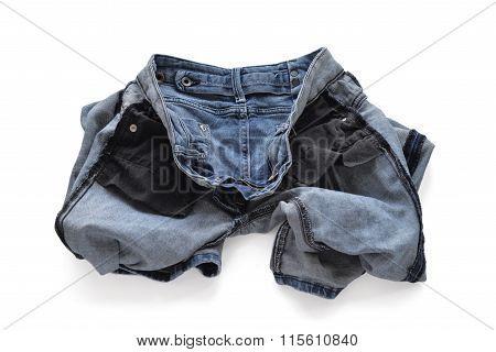 Erasing blue jeans for women. Turned inside out.