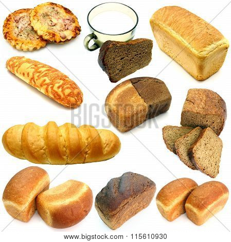 set of ruddy long loaf of bread with the fried crust