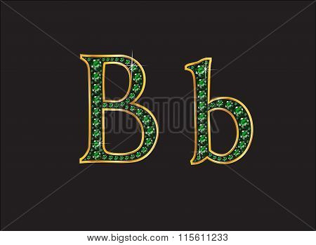 Bb In Emerald Jeweled Font With Gold Channels