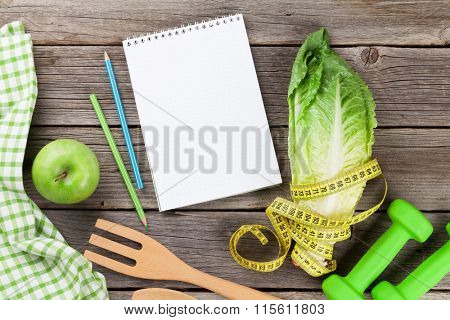 Healthy food cooking concept. Top view on wooden table