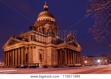 ST. PETERSBURG, RUSSIA - JANUARY 17, 2016: Night view of St. Isaac's cathedral in winter. It is the largest orthodox basilica and the fourth largest cathedral in the world