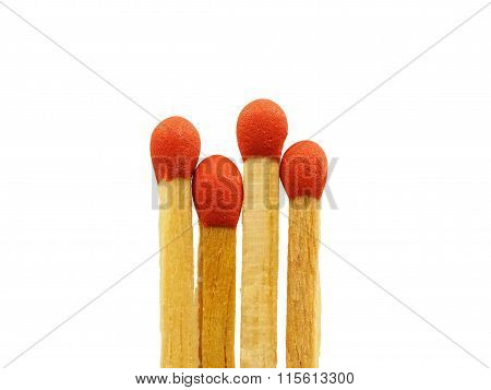 Group of matchstick closeup isolated