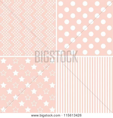 Set Of 4  Background Patterns In Light Pink.