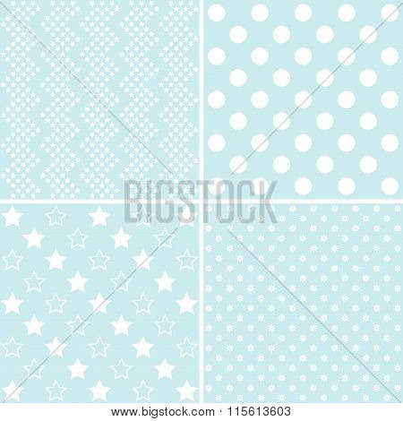 Vector Set Of 4 Cute Background Patterns.