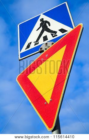 Pedestrian Crossing And Give Way. Two Road Signs