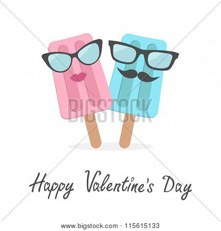 Happy Valentines Day. Love Card. Ice Cream Couple With Lips, Mustaches And Eyeglasses.