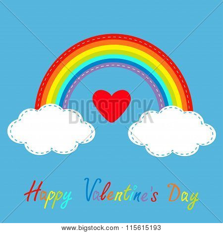 Happy Valentines Day. Love Card. Big Red Heart. Rainbow In The Sky. Dash Line Cloud. Flat Design Sty