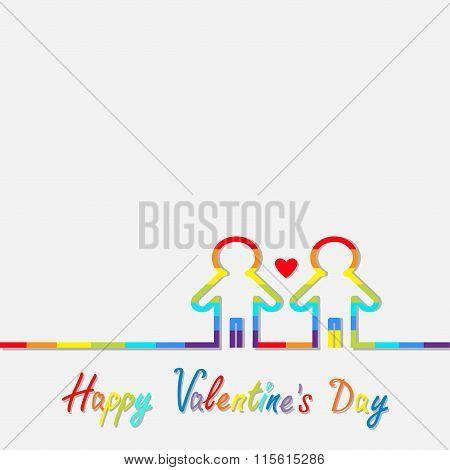 Happy Valentines Day. Love Card. Gay Marriage Pride Symbol Two Contour Rainbow Line Man Lgbt Icon Re
