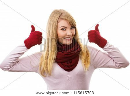 Happy Woman In Woolen Gloves Showing Thumbs Up, Positive Emotions
