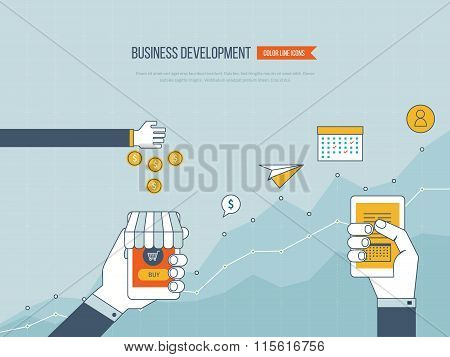 Concepts for business development, teamwork, financial report and strategy.