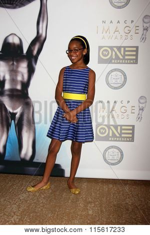 LOS ANGELES - JAN 23:  Marsai Martin at the 47th NAACP Image Awards Nominees Luncheon at the Beverly Hilton Hotel on January 23, 2016 in Beverly Hills, CA