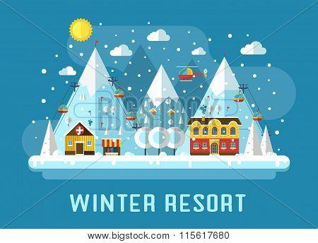 Winter Ski Resort Flat Landscape