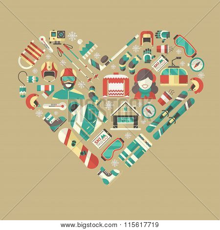 Winter Activity Flat Icons Heart Shape