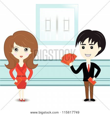 Chinese Man And Woman Hold With Chinese Red Pocket