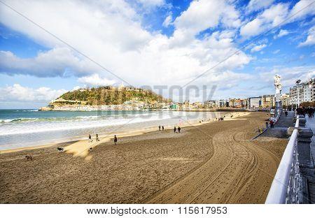The Bay Of San Sebastian In Spain.