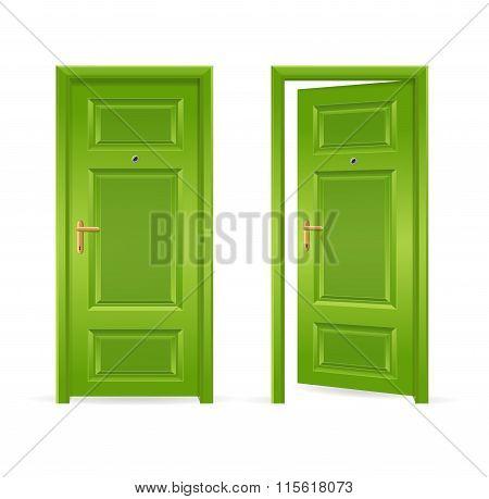 Green Door Open and Closed. Vector