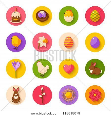 Cute Happy Easter Flat Icons on Circles