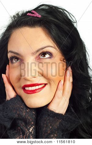 Close Up Of Woman Dreaming With Open Eyes