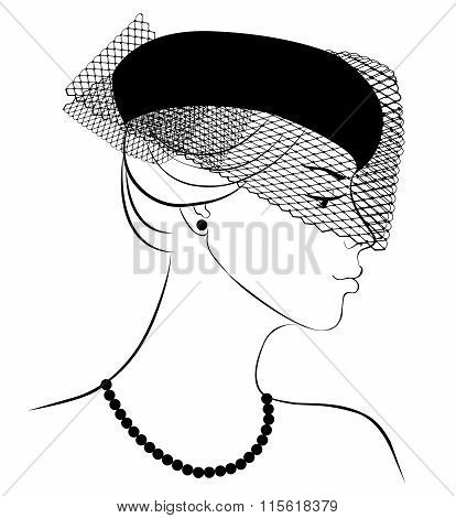 Woman in hat with veil