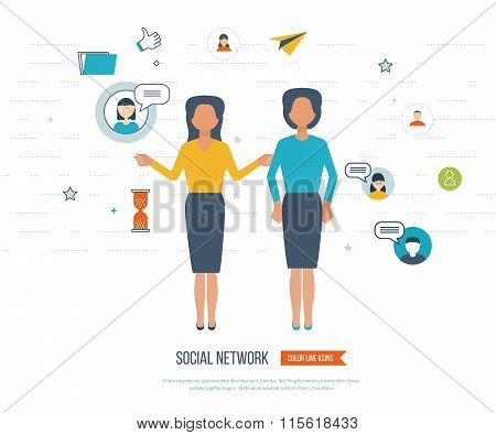 Social network and teamwork concept.