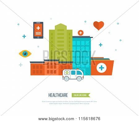 Vector illustration concept for healthcare, medical help and research. Ambulance.