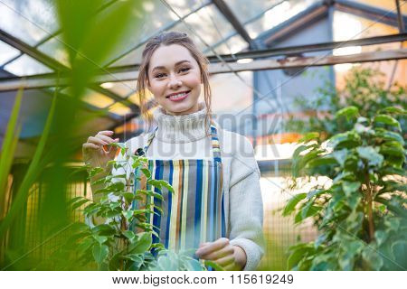 Smiling young woman gardener in striped apron standing in orangery