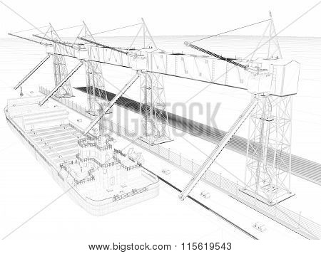 Perspective 3D render of interior wireframe. blueprint background