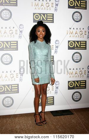 LOS ANGELES - JAN 23:  Skai Jackson at the 47th NAACP Image Awards Nominees Luncheon at the Beverly Hilton Hotel on January 23, 2016 in Beverly Hills, CA