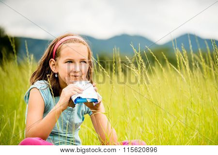Girl enjoying chocolate