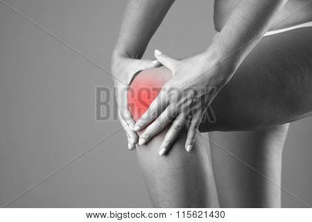 Pain In The Knee. Pain In The Human Body On A Gray Background