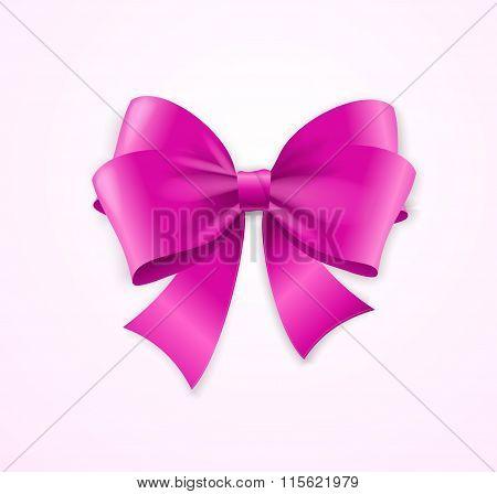 Pink Satin Bow. Vector