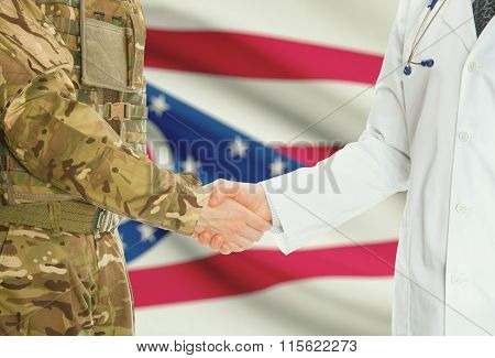 Military Man In Uniform And Doctor Shaking Hands With Us States Flags On Background - Ohio