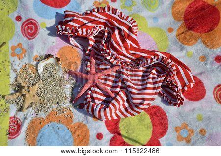 Red-white Bikini On Towel
