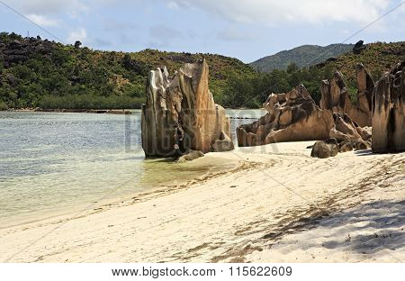 Beautiful Huge granite boulders on beach at Curieuse Island in Indian Ocean.