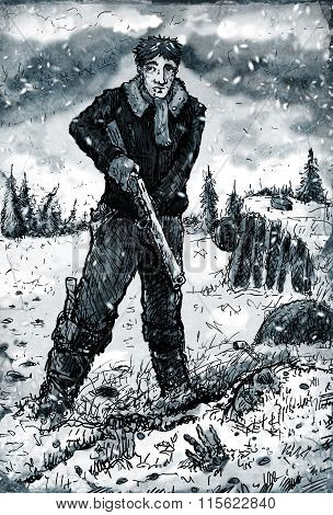 Man With Rifle On The Frozen Wasteland