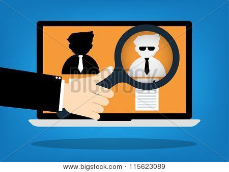 Hand Hold A Magnifying Glass For Choosing The Right Personal With Resume The Best Candidate On Inter