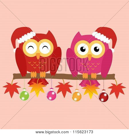 Two Owls On Maple Tree Wearing A Red Santa Claus Hat With Christmas Multicolor Balls And Colorful Or