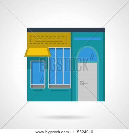 Storefronts flat color vector icon. Cafe facade