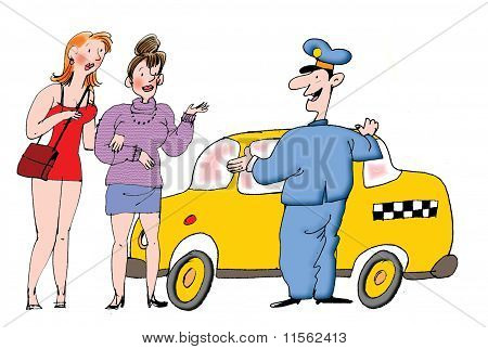 illustration about taxi driver and sexy passengers