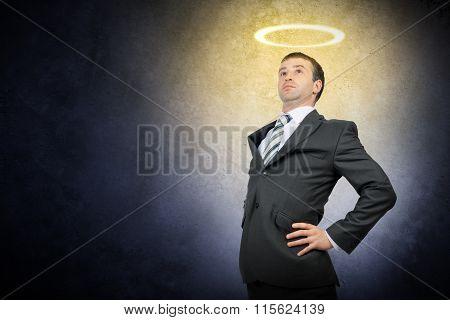 Businessman with nimbus