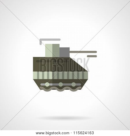 Military robots flat color vector icon. Tank