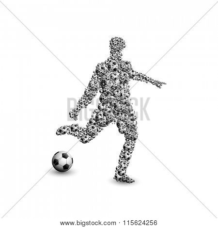 football soccer player silhouette with ball easy all editable