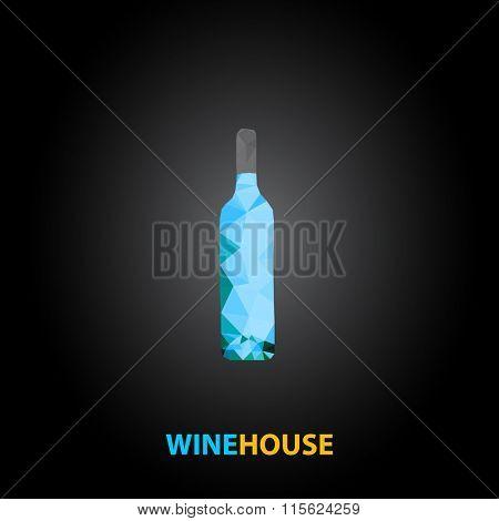 wine bottle polygon design easy editable