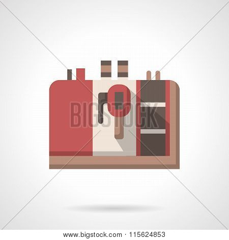 Coffee equipment vector icon. Red espresso machine
