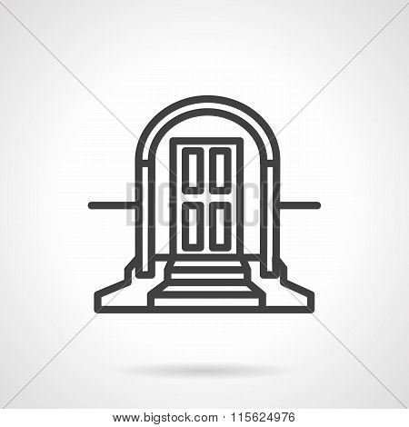 Front door with arch simple line vector icon