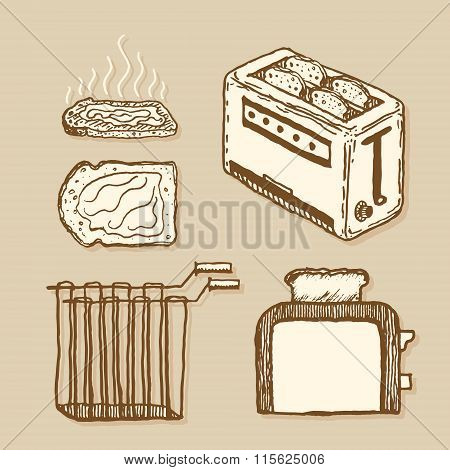 Toaster. Vintage style, hand drawn pen and ink.