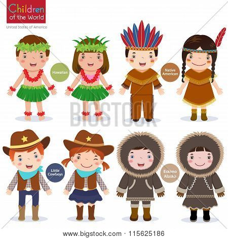 Children Of The World-usa-hawaiian-native American-cowboys-eskimo