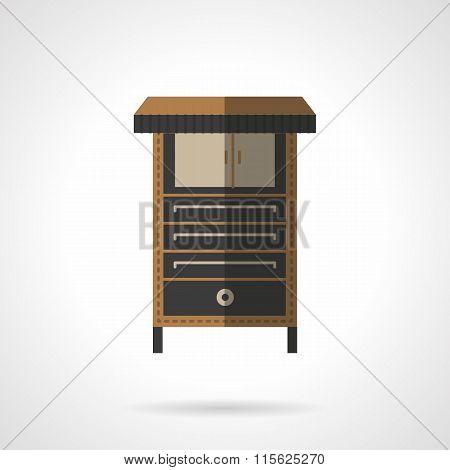 Bakery equipment flat vector icon. Oven